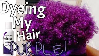 getlinkyoutube.com-Dyeing My Natural Hair Purple!