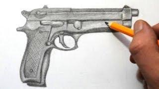 getlinkyoutube.com-How to Draw a Gun  Quick Sketch