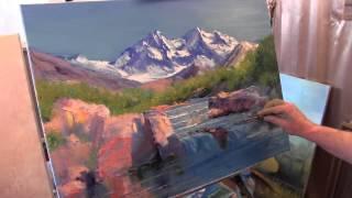 getlinkyoutube.com-Научиться рисовать горы, уроки живописи для новичков, художник Сахаров