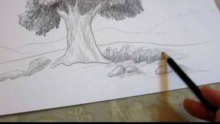 getlinkyoutube.com-How To Draw A Tree in Landscape - Drawing Techniques