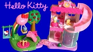 getlinkyoutube.com-Squinkies Hello Kitty Town Dispenser Playset with Swing Slide Roundabout Playground Bakery Shop