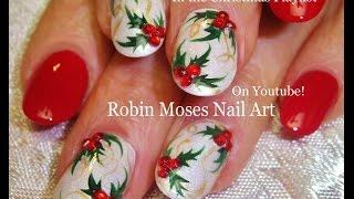 getlinkyoutube.com-Easy Christmas Nail Art | Xmas Holly Nails On White Nails Design Tutorial