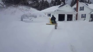 getlinkyoutube.com-John Deere 318 blowing snow with the larger 47 2752M dual-stage snow blower
