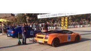 getlinkyoutube.com-Lamborghini Gallardo vs Subaru Impreza WRX Drag Race