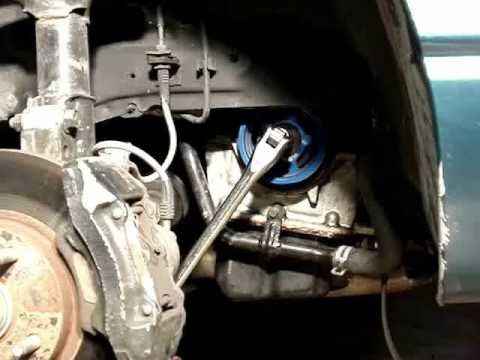 How to use a breaker bar to remove a crank pulley bolt on a passenger facing, clockwise engine.