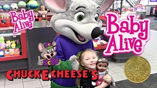 getlinkyoutube.com-BABY ALIVE goes to CHUCK E CHEESE! The Lilly and Mommy Show! Baby Alive toy play. Games and Prizes