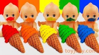 getlinkyoutube.com-Learn Colors Play Doh Waffle Cone Sundae Ice Cream Paint Baby Doll Finger Family Song Nursery Rhymes