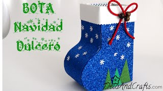 getlinkyoutube.com-Dulcero Bota Navideña de cartón - DecoAndCrafts