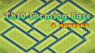 getlinkyoutube.com-Th10 Farming Base! [4 Mortars]+[Speed Build]