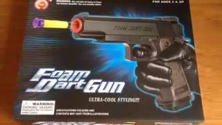 "getlinkyoutube.com-""'The Foam Dart Gun"" Un-Boxing and Review -  Police, FBI Pistol, M1911 Toy Gun"