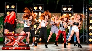 getlinkyoutube.com-Group 13 cover Tina Turner's Proud Mary | Boot Camp | The X Factor UK 2015