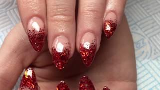 getlinkyoutube.com-Acrylic Nails   Red Glitter   Christmas   CJP