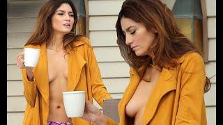 Blanca Blanco topless in pink panties and open robe width=