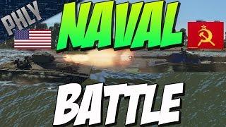 getlinkyoutube.com-WARSHIP BATTLE (AMTRAC) - USSR VS USA (War Thunder Tanks Gameplay)