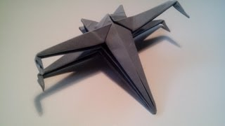 getlinkyoutube.com-Como hacer una nave de star wars de origami sencilla (X-WING)