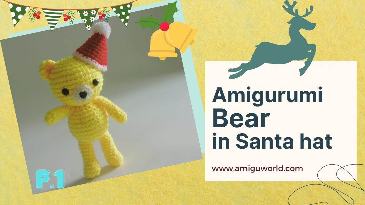Crochet an amigurumi bear in Santa hat pattern