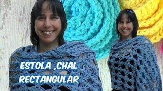 Como tejer un chal rectangular en crochet /estola en  crochet o ganchillo facil paso a paso