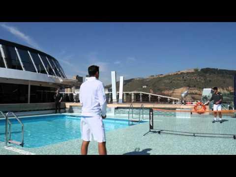Nishikori, Almagro play on cruise rooftop in Barcelona