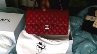 getlinkyoutube.com-NEW Chanel RED classic FLAP M/L RUE DE CAMBON PARIS lambskin