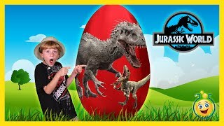 getlinkyoutube.com-DINOSAUR GIANT SURPRISE EGG OPENING Jurassic World Indominus Rex & T-Rex Toy Unboxing Fun Kids Video