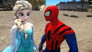 Spiderman vs Elsa The Snow Queen  Frozen
