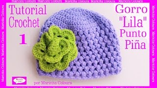 "getlinkyoutube.com-Gorro  Bebé Punto Puff Crochet ""Lila"" (1)  por Maricita Colours Subtitles in English & Deutsch"