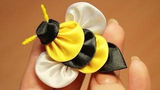 getlinkyoutube.com-Пчела Канзаши Мастер класс ൠ DIY Kanzashi bee