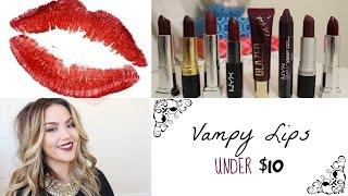 getlinkyoutube.com-Fall Lipsticks under $10 | Vampy Lips