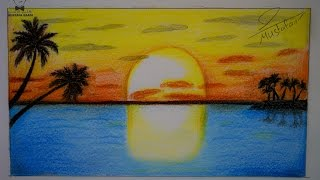getlinkyoutube.com-تعلم رسم منظر طبيعي بالالوان الخشبية للمبتدئين الاطفال في المدارس