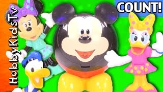 Count Numbers Colors With Mickey Donald Minnie Daisy + Disney Choco SURPRISE Egg by HobbyKidsTV