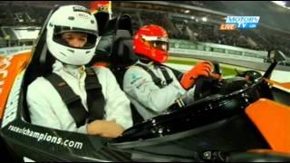 getlinkyoutube.com-Michael Schumacher vs. Tom Kristensen AMAZING FINISH Race of Champions 2011