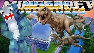 getlinkyoutube.com-Minecraft Adventure - Sharky and Scuba Steve - JURASSIC PARK TOUR