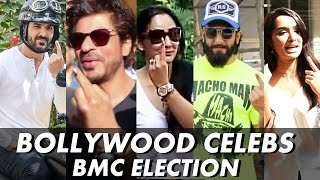 getlinkyoutube.com-Bollywood Celebs Casts VOTE For BMC Elections 2017 | Shahrukh, Ranveer, Shraddha