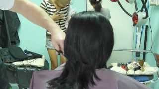getlinkyoutube.com-Girl barbershop haircut and headshave