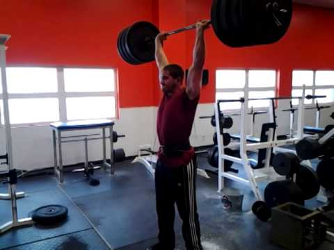 335lbs Power Clean To Overhead Push Press.