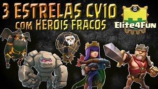ATAQUE 3 ESTRELAS CV10 FULL COM HEROIS FRACOS | CLASHLAND