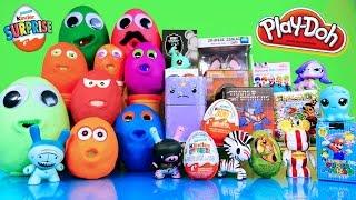getlinkyoutube.com-Surprise Play Doh Eggs Kinder Joy Toys Transformers LPS Disney Vinylmation TMNT Super Mario Opening