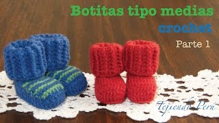 getlinkyoutube.com-Botas tipo medias tejidas a crochet para bebes (Parte 1)