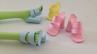 getlinkyoutube.com-How to make Doll Shoes using Paper and Glue stick ALONE