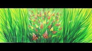 getlinkyoutube.com-Como pintar un cuadro con pinturas acrilicas -  Triptico - Ramas y Flores - Ana Gjurinovich
