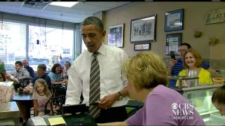 Obama stops for ice cream in Cedar Rapids width=
