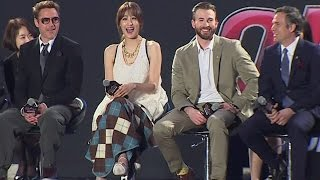 getlinkyoutube.com-Avengers Age of Ultron Korea Fan Event - Claudia Kim, Robert Downey Jr, Chris Evans, Mark Ruffalo