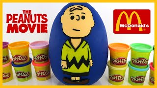 The Peanuts Movie McDonalds Happy Meal Kids Toys In A Giant Play Doh Surprise Egg