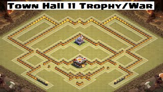 Best Town Hall 11 War/Trophy Base Design! Speed Build - Clash of Clans