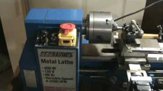 "getlinkyoutube.com-7x12 CNC mini lathe cutting 3/8"" 24 tpi threads in Stainless Steel Groen Kettle Handle repair"