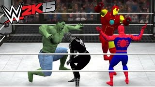 getlinkyoutube.com-WWE 2K15 - HULK VS BATMAN VS SPIDER MAN VS VENOM VS THOR VS IRON MAN - ELIMINATION CHAMBER MATCH