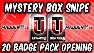 MUT 16 Mystery Box Snipe & 20 Badge Pack Opening in Madden 16 Ultimate Team