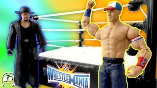 getlinkyoutube.com-WWE Wrestlemania 33 John Cena vs Undertaker Toys R Us Exclusive Network Ring Playset Review!!