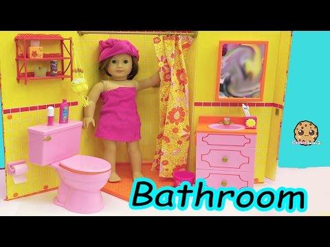 American Girl Doll Bathroom - Shower, Pink Toilet, Brush Teeth, Surprise Blind Bags