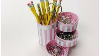 getlinkyoutube.com-DIY crafts:How to recycle tin cans to make a pencil holder or desk organizer